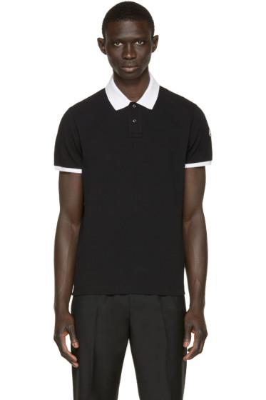 Moncler - Black Contrast Collar Polo