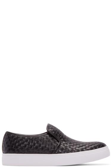 Tiger of Sweden - Black Woven Leather Yngve Slip-On Sneakers