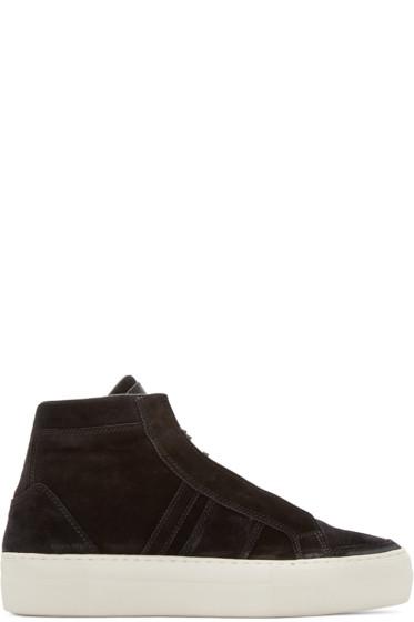 Helmut Lang - Black Suede High-Top Sneakers