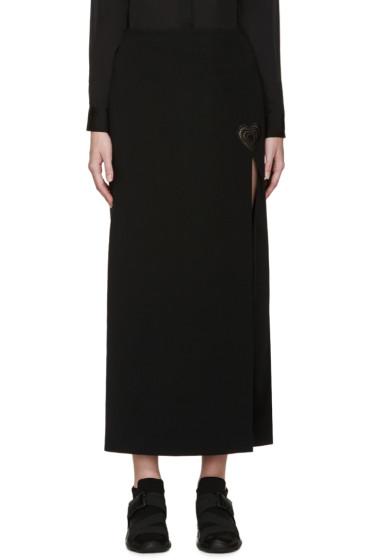 Christopher Kane - Black Slit Love Heart Long Skirt