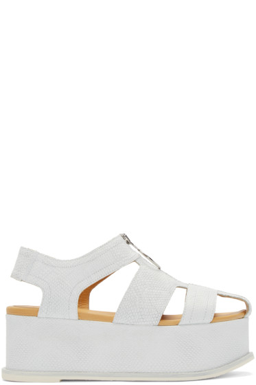 MM6 Maison Margiela - White Mock Reptile Platform Sandals