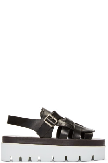 MM6 Maison Margiela - Black Leather Platform Sandals