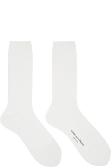 Comme des Garçons - White Ribbed Logo Socks