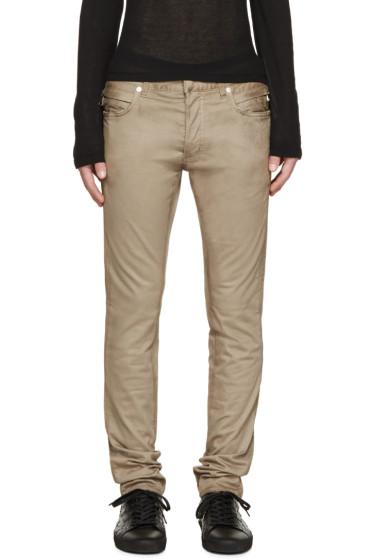 Balmain - Beige Cotton Biker Jeans