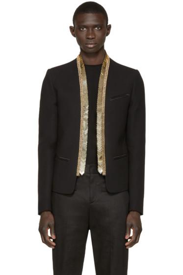 Balmain - Black & Gold Chain Trim Blazer