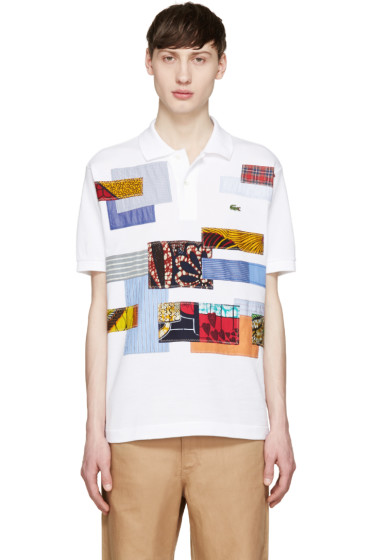 Junya Watanabe - White Patchwork Lacoste Edition Polo