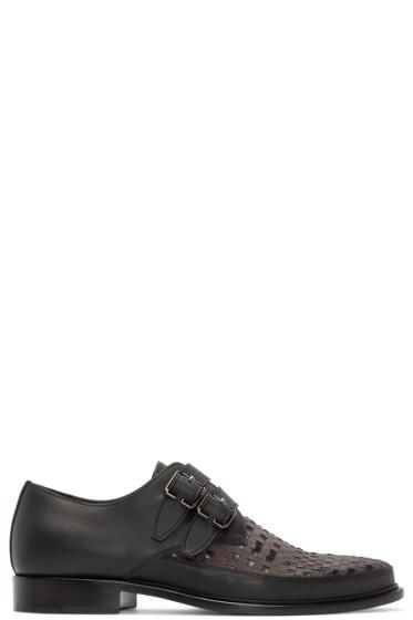 Lanvin - Black Woven Monkstrap Shoes