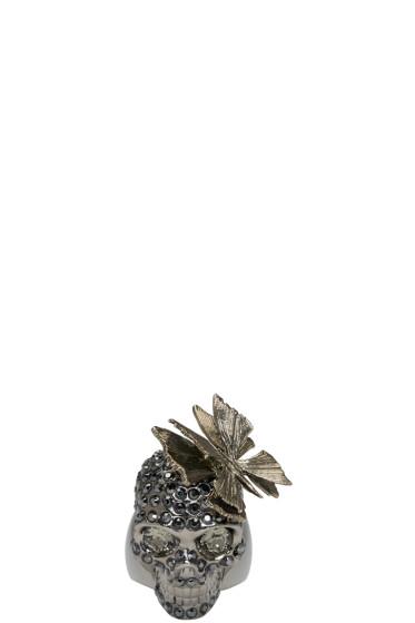 Alexander McQueen - Gunmetal Butterfly Skull Ring