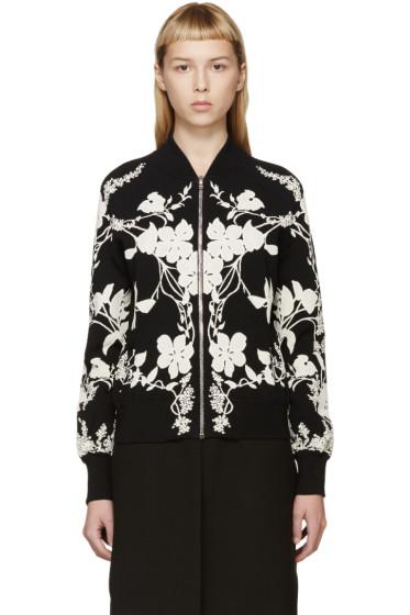 Alexander McQueen - Black & Ivory Floral Bomber Jacket