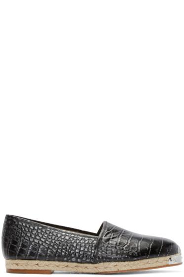 Giuseppe Zanotti - Black Croc-Embossed Espadrilles