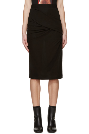 Givenchy - Black Draped Crepe Skirt