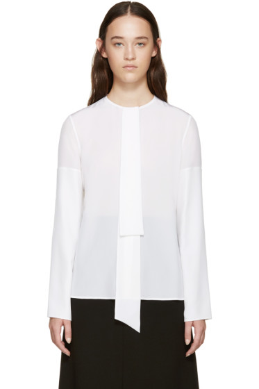 Givenchy - White Silk Necktie Shirt