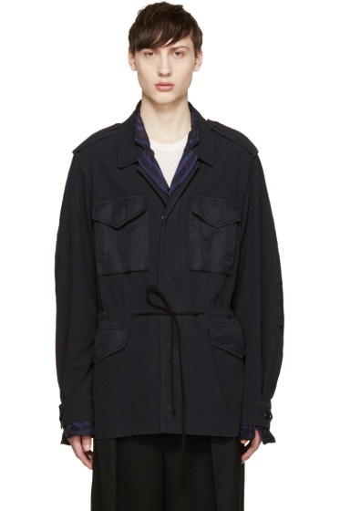 3.1 Phillip Lim - Navy Woven Layered Coat