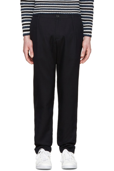 Raf Simons - Navy Tonal Grid Trousers