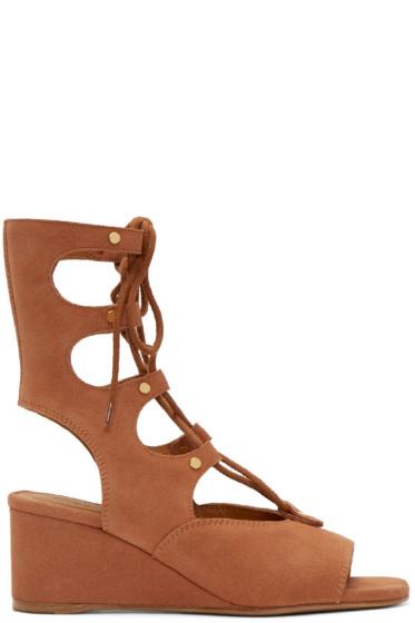 Chloé - Camel Suede Gladiator Foster Sandals