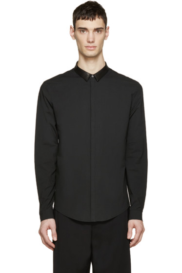 Juun.J - Black Leather Collar Shirt