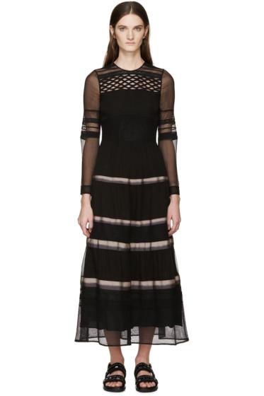 Burberry Prorsum - Black Silk Ribbon Striped Dress