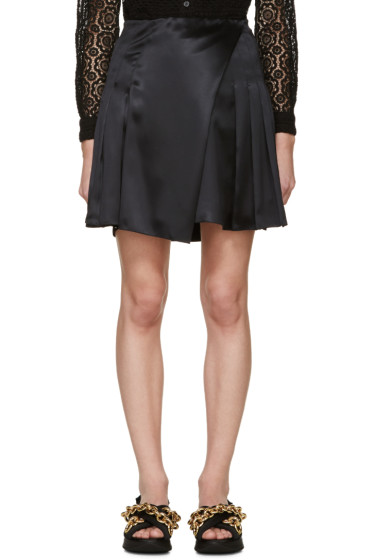 Burberry Prorsum - Black Silk Pleated Wrap Skirt