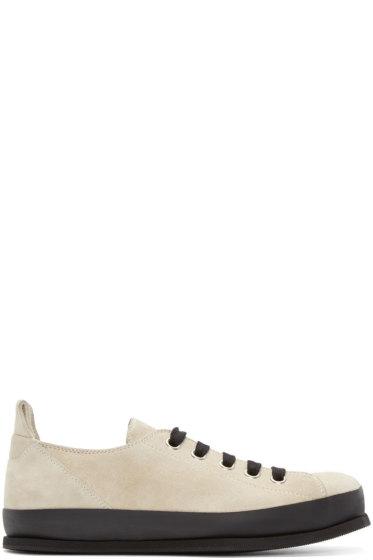 Ann Demeulemeester - Beige & Black Suede Low-Top Sneakers