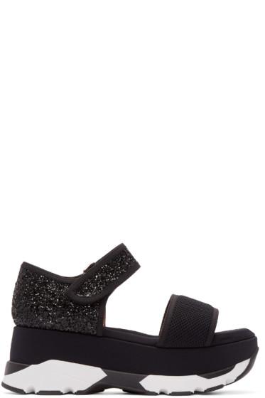 Marni - Black Glittered Platform Sandals