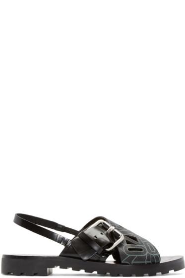 Kenzo - Black Leather Flying Logo Riso Sandals
