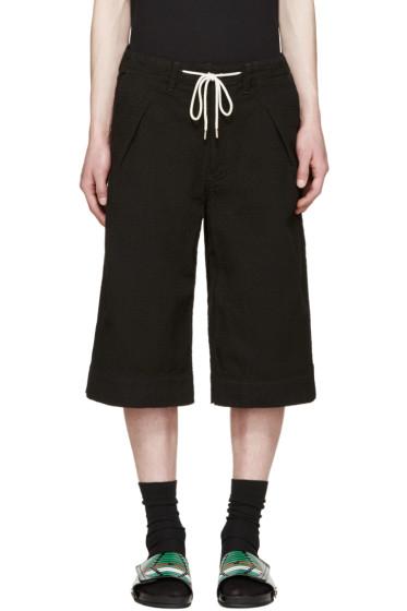 Sasquatchfabrix - Black Textured Sashico Hakama Shorts