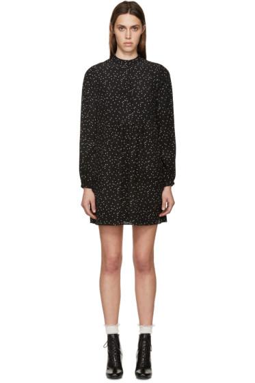 Saint Laurent - Black Dot Print Silk Dress