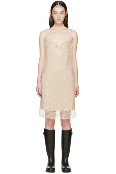 Saint Laurent - Nude Lace Slip Dress