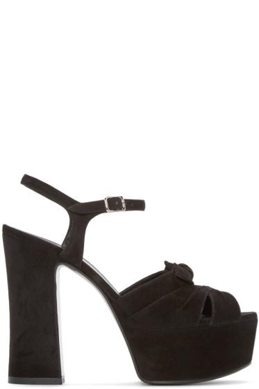 Saint Laurent - Black Suede Candy Bow Sandals