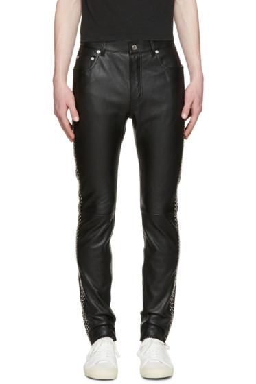 Saint Laurent - Black Leather Studded Trousers