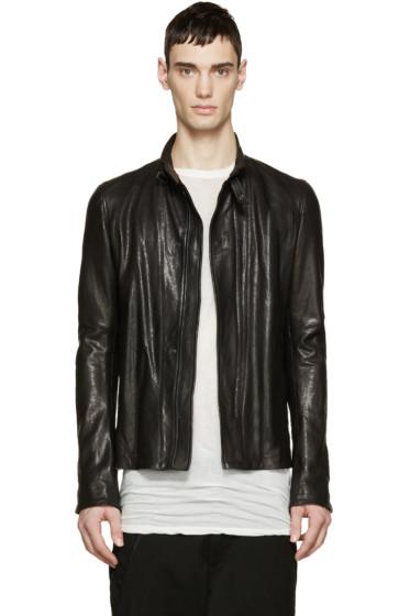 Julius - Black Leather Zip-Up Jacket