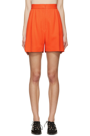Mary Katrantzou - Orange Pleated High-Rise Shorts