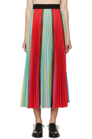 Mary Katrantzou - Multicolored Striped Pleated Skirt