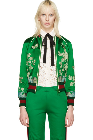 Gucci - Green Silk Embroidered Bomber Jacket