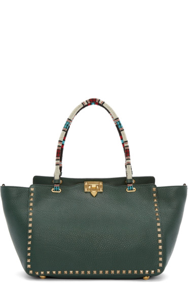Valentino - Green Medium Rockstud Tote