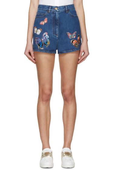 Valentino - Blue Denim Butterfly Shorts