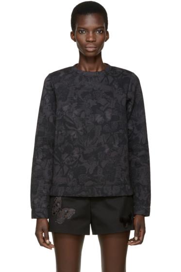 Valentino - Black & Grey Neoprene Butterfly Pullover