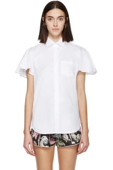 Valentino - White Poplin Flutter Sleeve Shirt