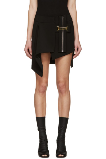 Anthony Vaccarello - Black Belted Asymmetrical Skirt