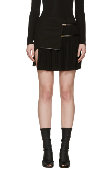 Anthony Vaccarello - Black Asymmetric Plisse Miniskirt