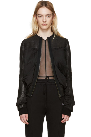 Haider Ackermann - Black Leather Bomber Jacket