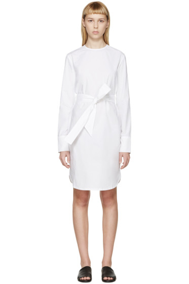Each x Other - White Poplin Belted Dress