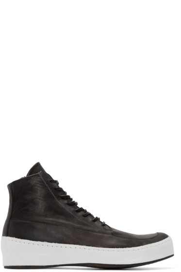 Nude:mm - Black & White Leather High-Top Sneakers