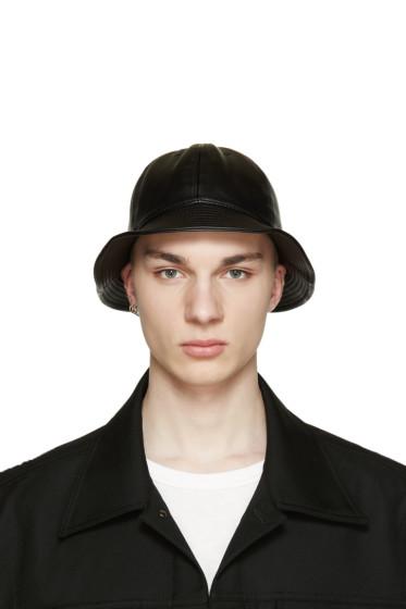 D by D - Black Faux-Leather Bucket Hat