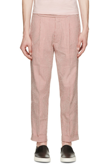 Palm Angels - Red & White Classic Seersucker Pants