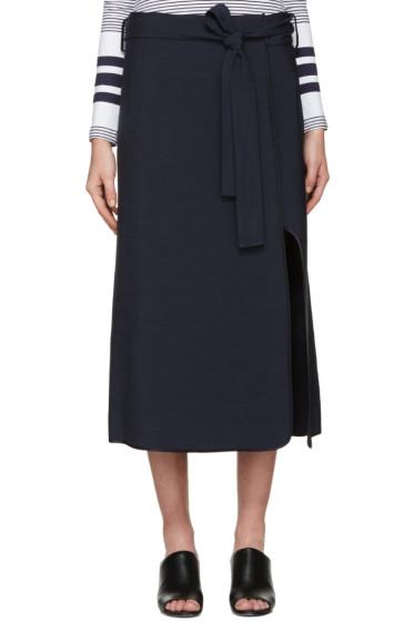 Rosetta Getty - Navy Belted Wrap Skirt