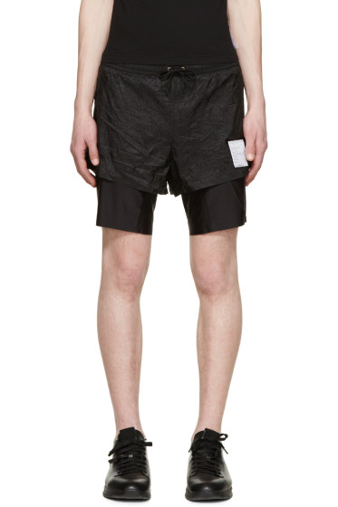 "Satisfy - Black Layered Long Distance 8"" Shorts"