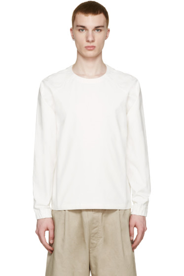 Sunnei - White Woven Long Sleeve T-Shirt