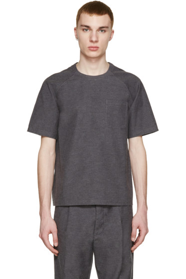 Sunnei - Grey Woven Pocket T-Shirt
