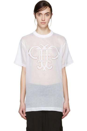Emilio Pucci - White Organza Logo T-Shirt